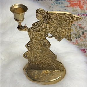 Vintage Large Angel Solid Brass Candle Holder